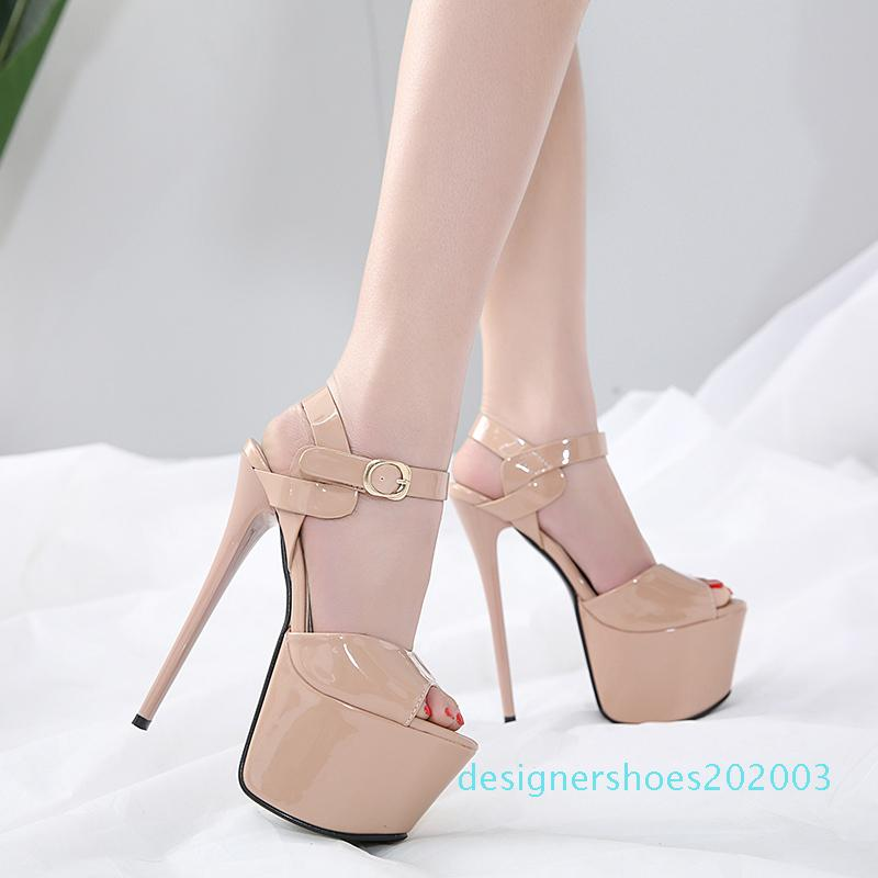 17cm Sexy Black nude platform ultra high heel sexy party club shoes 2 colors size 34 to 39 d03