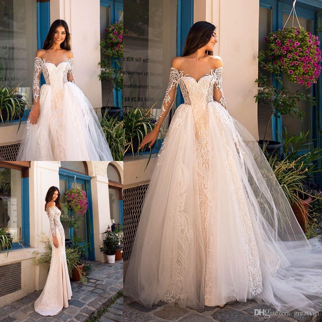 Robes de mariée sirène Oksana Mukha à l'épaule dentelle appliques manches longues avec jupe détachable plage, plus la taille robes de mariée