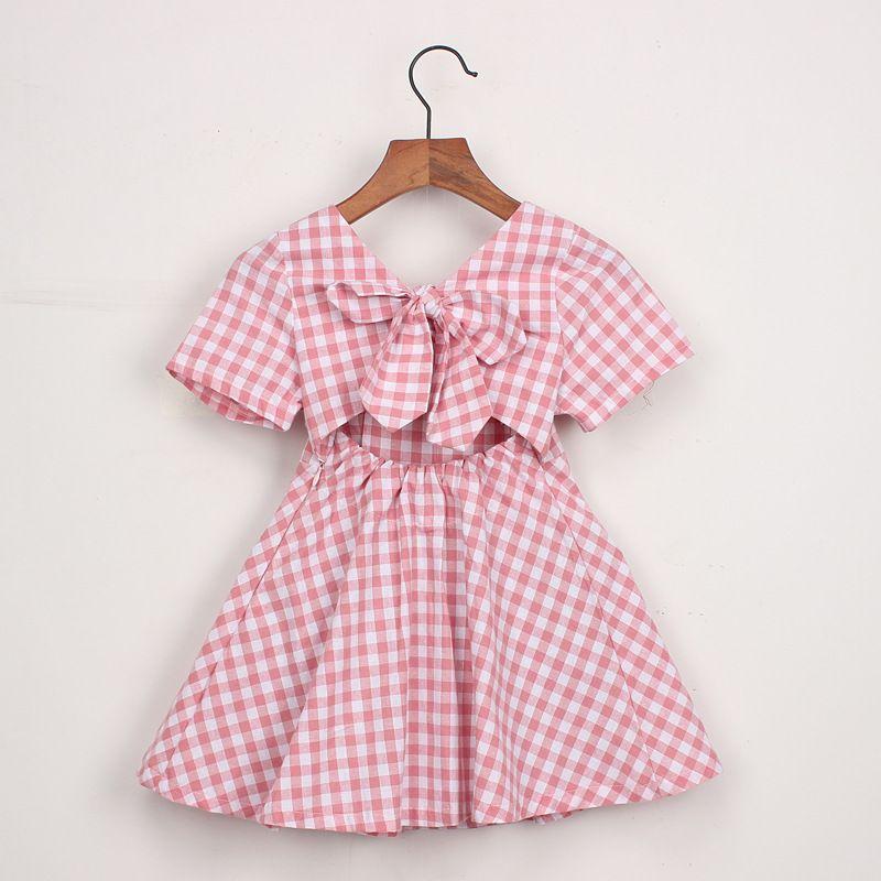Kız çocuk giyim elbise yaz kız çocuklar ekose geri oymak elbise çocuklar yuvarlak yaka kısa kollu zarif elbise 2 renkler