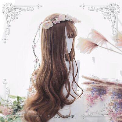 Harajuku Kawaii Lolita perruque fille Bangs longue cosplay Brown perruques de cheveux synthétiques