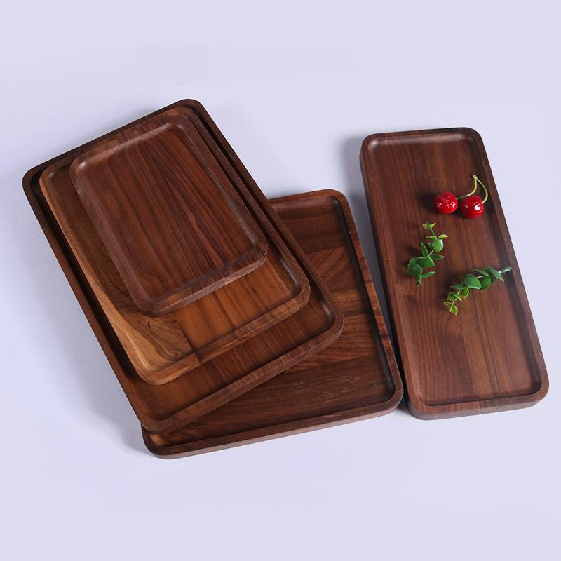 Rectangle Black Walnut Plates Delicate Kitchen Wood Fruit Vegetable Bread Cake Dishes Multi Size Tea Food Pizza Snack Trays VT1606