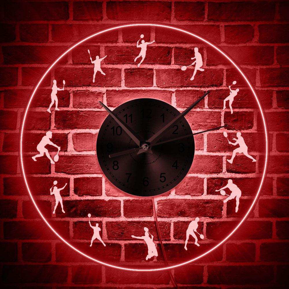 Badminton LED Lighting Wall Clock Acrylic Modern Wall Clock Glow in Dark With Color Changes Shuttlecock Player Decorative