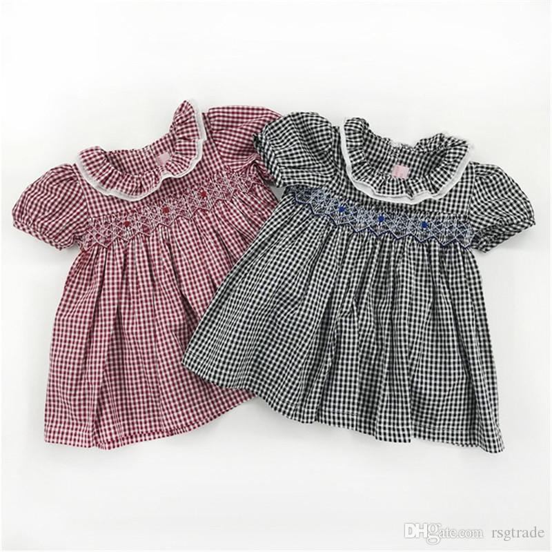 Fahions INS Little Baby Girls Floral Plaid Dresses Puff Short Sleeve Knitted Flower Foral Embroidery Complecated Handmade Princess Dresses