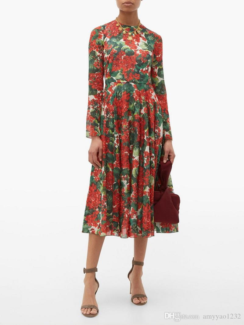 717 2019 Autumn Flora Print Dress Crew Neck Mid Calf Long Sleeve Luxury Fashion Prom Solid Flowers Womens Clothes SH