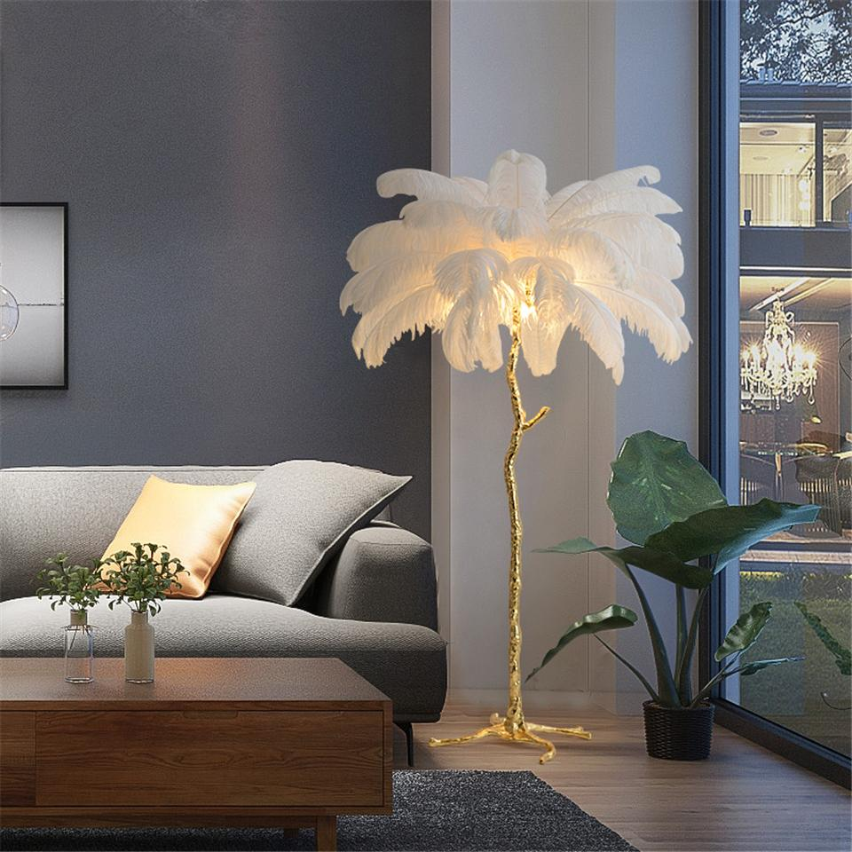 2020 Nordic Ostrich Feather Led Floor Lights Living Room Floor