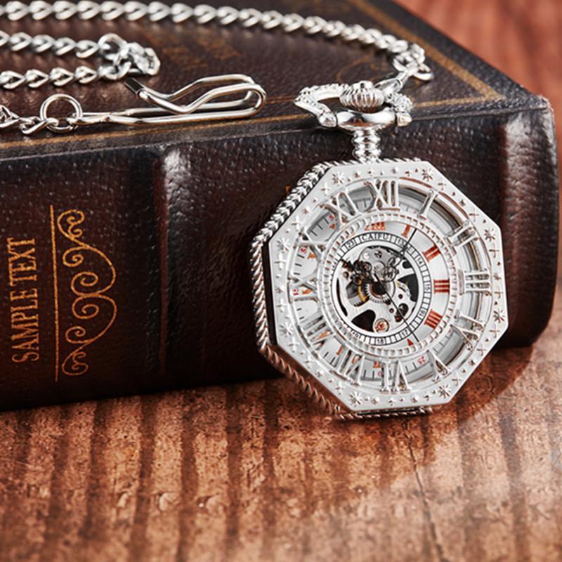 Gorben Gümüş İskelet El Rüzgar Mekanik Pocket Saat Turuncu Romen Rakamları FOB Zincir kolye Unisex Hediyeleri