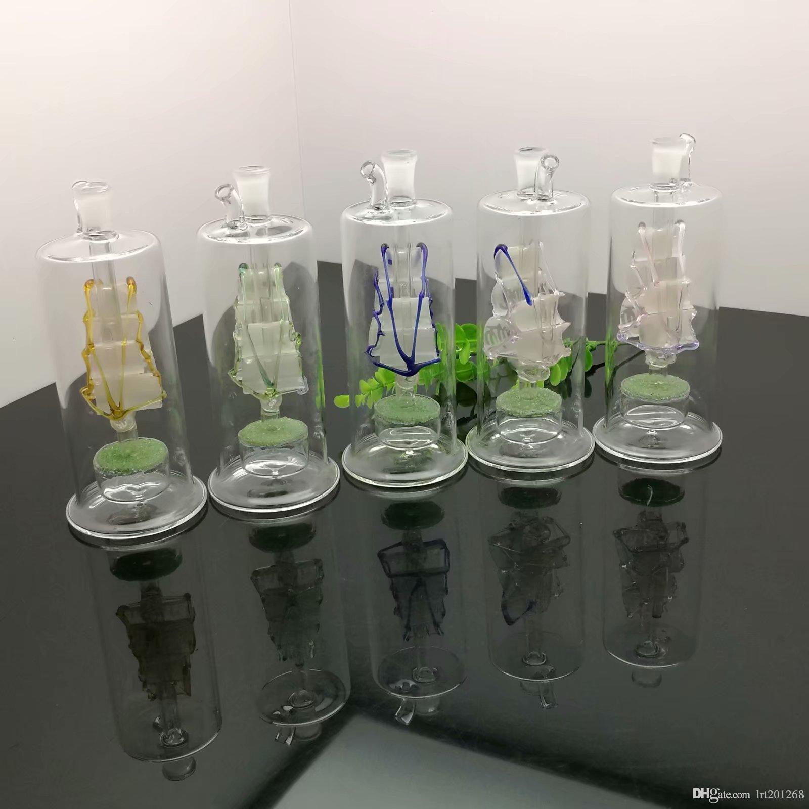Colorido Sailing Areia núcleo de vidro Hotpot vidro Pipes hookah água Handle fumadores tubos de transporte de alta qualidade