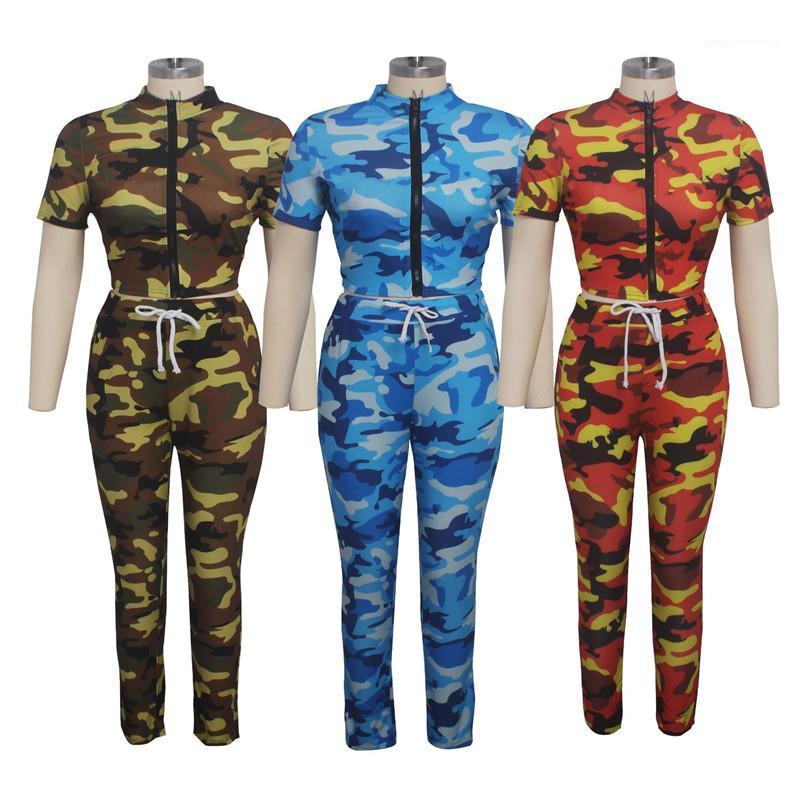Tarnung gedruckt Reißverschluss Ausschnitt Zweiteiler Hose Sommer-Frauen Designerkleidung für Damenmode 2-teiliges Set Mode