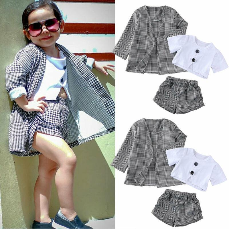 Winter Warm Fashion Baby Girls Cloth Kids Plaid Short Sleeve Tops Shorts Coat Jacket Formal Outfit Clothes 3PCS Costume T200526
