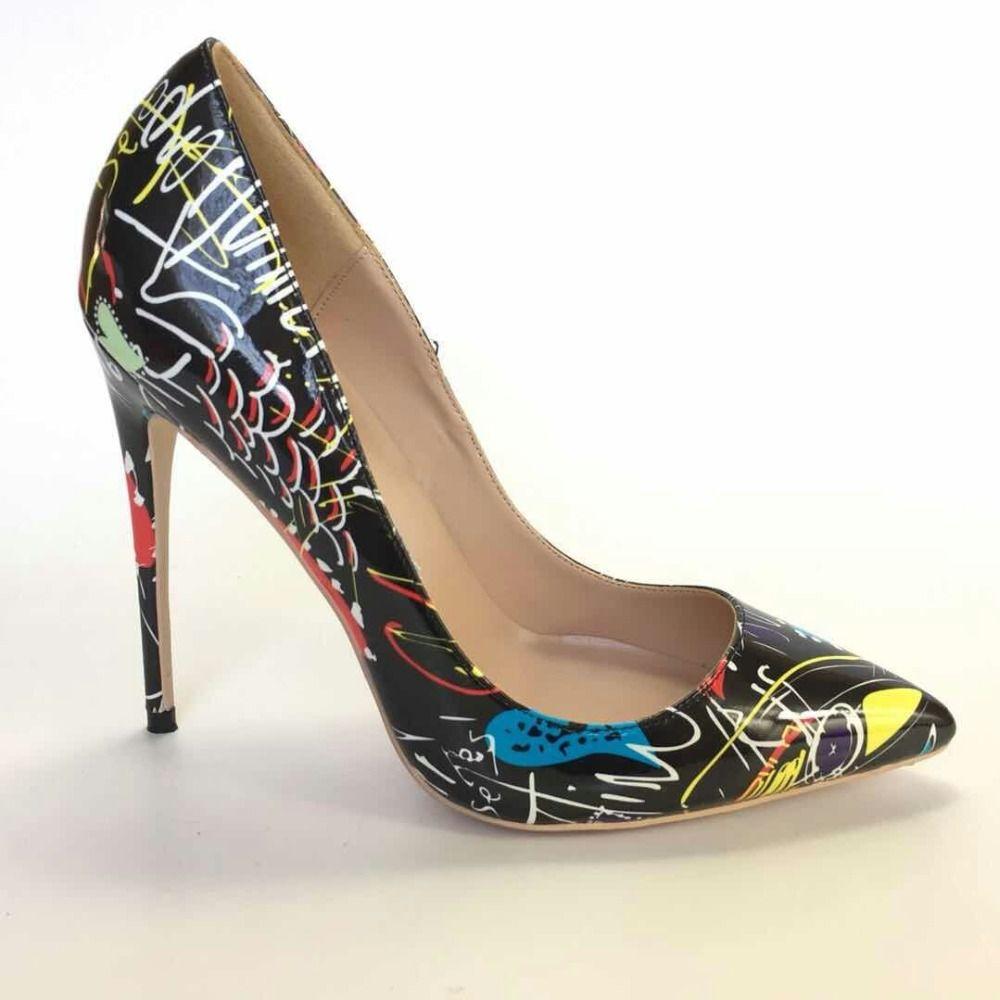 2019 бесплатная доставка женщины новая мода свадьба леди черный лакированная кожа Poined пальцы на высоком каблуке туфли на шпильках обувь насос 12 см 10 см
