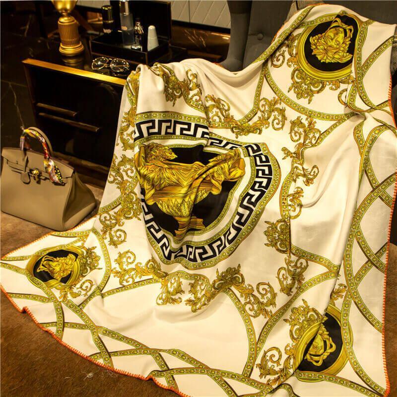 Espessamento Marca V Cobertor 150x150cm ouro preto para sofá cama de luxo 3D impressão padrão cadeia de transporte e sinalização H quente cobertor xale