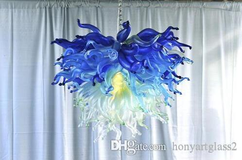جمال الزجاج المنفوخ الثريا اضاءات مع LED لمبات الظل الفيروز قلادة الأزرق مصابيح ضوء داخلي - Griban العلامة التجارية