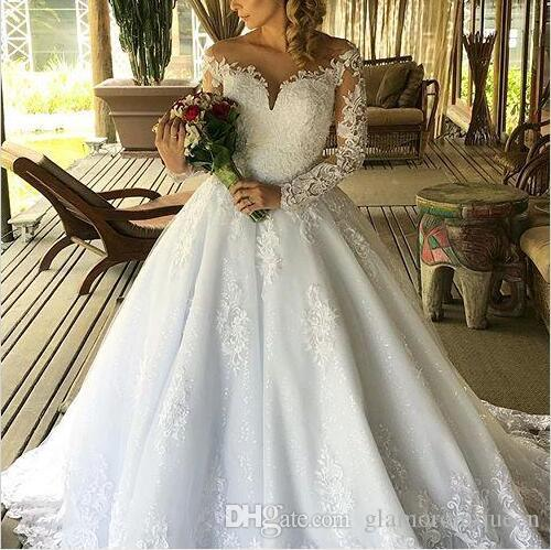 Vestidos De Noiva maniche lunghe Abiti da sposa Una linea pura del collo Appliques del merletto perle pulsante Indietro Abiti da sposa taglie forti