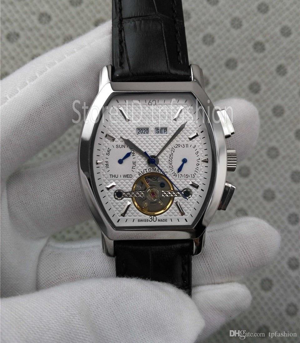 Caldo superiore di modo automatico self meccanica Winding Uomini classico orologio Tonneau design del quadrante cinturino in pelle Cronometro Tourbillon Clock 5473