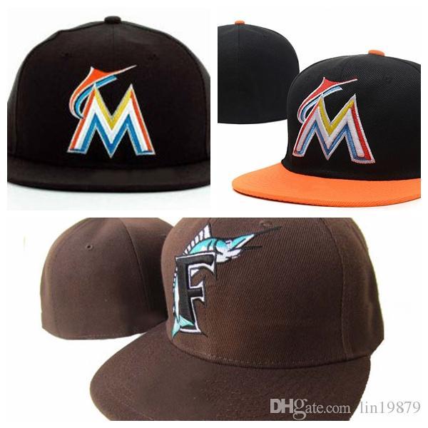 جديد وصول الأزياء مارلينز M إلكتروني قبعات البيسبول gorras العظام للرجال والنساء أعلى جودة الهيب هوب القبعات المجهزة