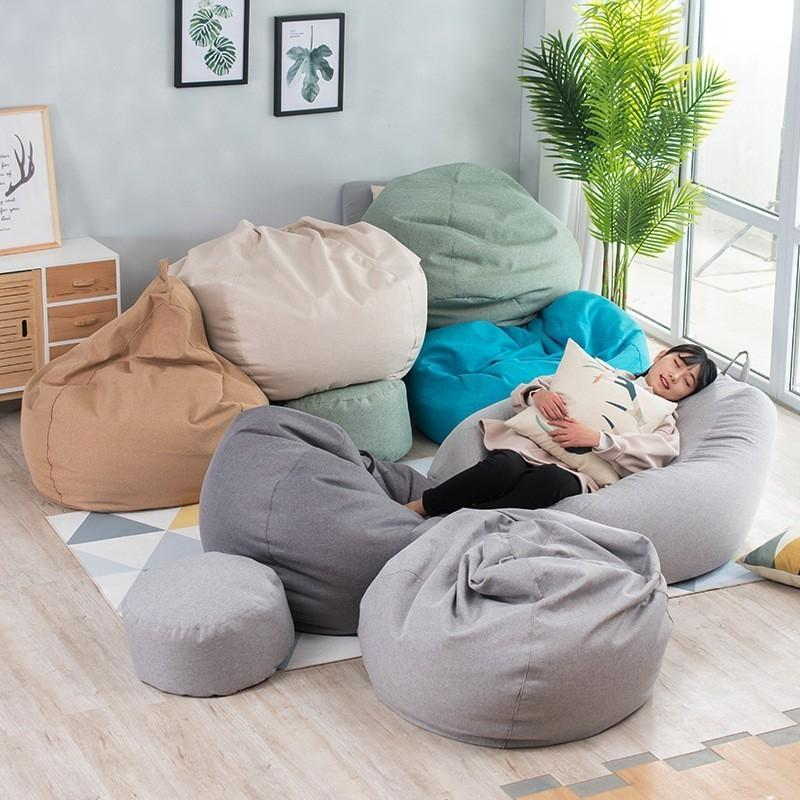 Bean Bag Cover No Filler Living Room Bedroom Sofa Bed Lazy Casual Tatami Beanbag Chair Couch