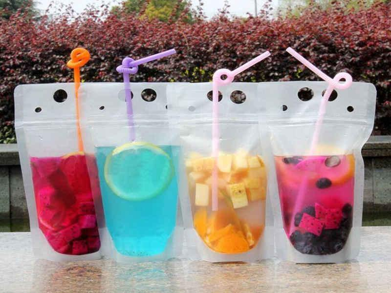 Clear Drink Pouches Bags frosted Zipper Stand-up Plastic Drinking Bag with straw