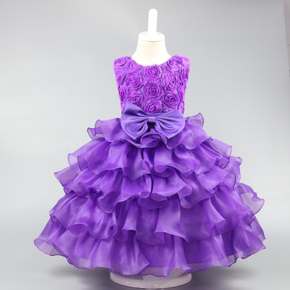 Compre 2019 Verão Moda Infantil Dress Rose Bowknot Princesa Vestidos De Noiva Meninas Festa De Aniversário Para 3 4 5 6 7 8 9 10 Anos De Idade De