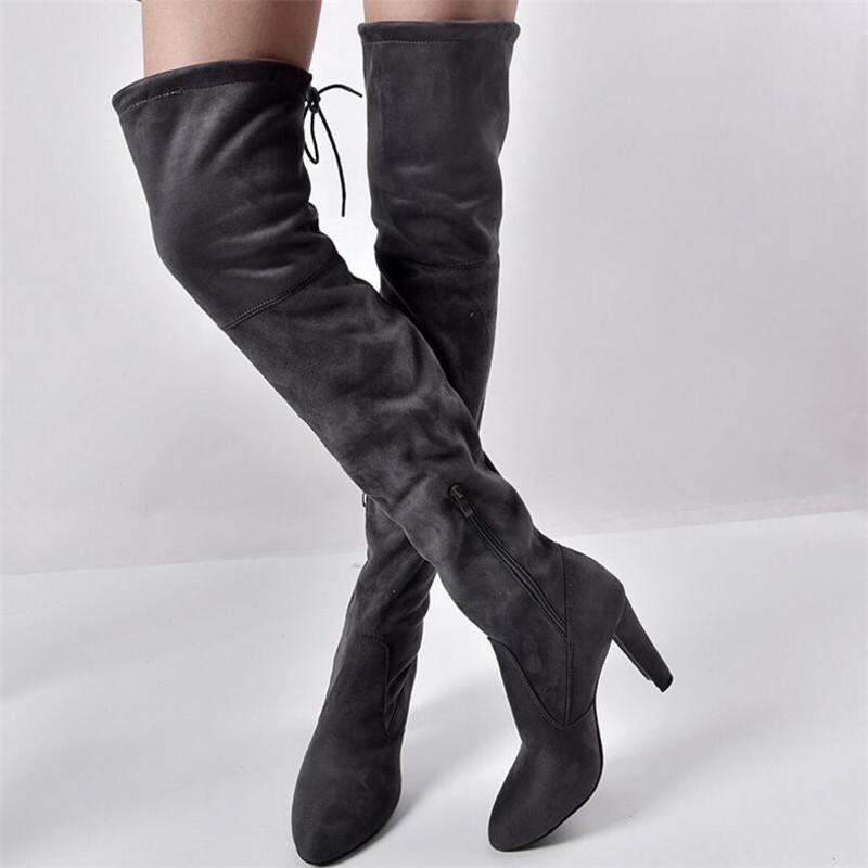 Sıcak Satış-kadın Sıcak Çizmeler Sonbahar Ve Kış Yeni Sivri Kalın Diz Çizmeleri Üzerinde Yan Fermuar Ile Elastik Çizmeler Bayan Ayakkabıları