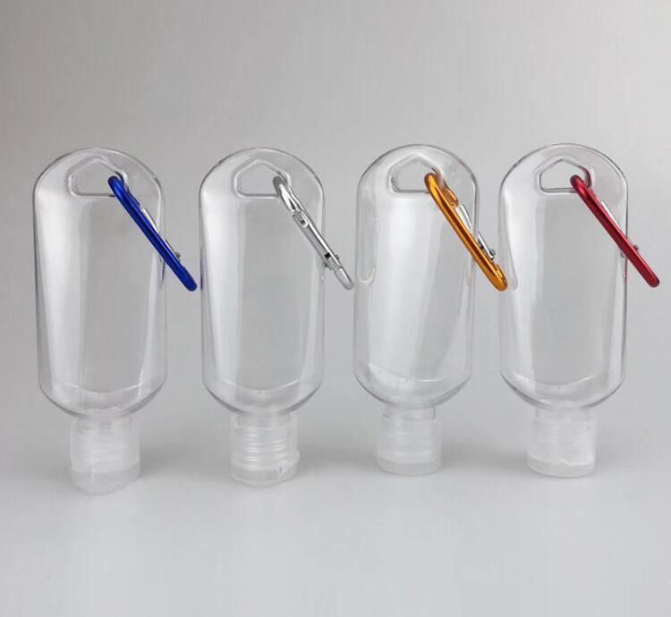 50ml Пустые бутылки алкоголя Refillable с кольцом для ключей крюка прозрачных пластика дезинфицирующее бутылок для путешествий бутылки UPS DHL Free