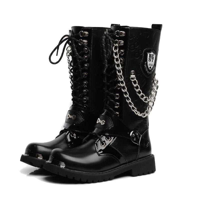 Ботинки для мотоцикла Большой размер Мужская обувь Army загрузки High-Top Military Combat Boots Металлические цепи Мужской Moto Панк обувь 5 # 20 / 20D50