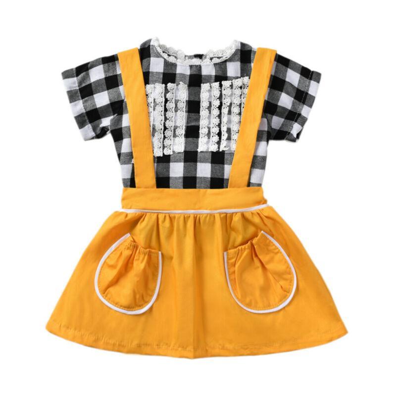 2PCS appena nati bambini neonate vestiti di estate dei bambini Infant plaid del merletto tops + Giallo tasca della gonna Tuta baby-estate delle ragazze Outfit