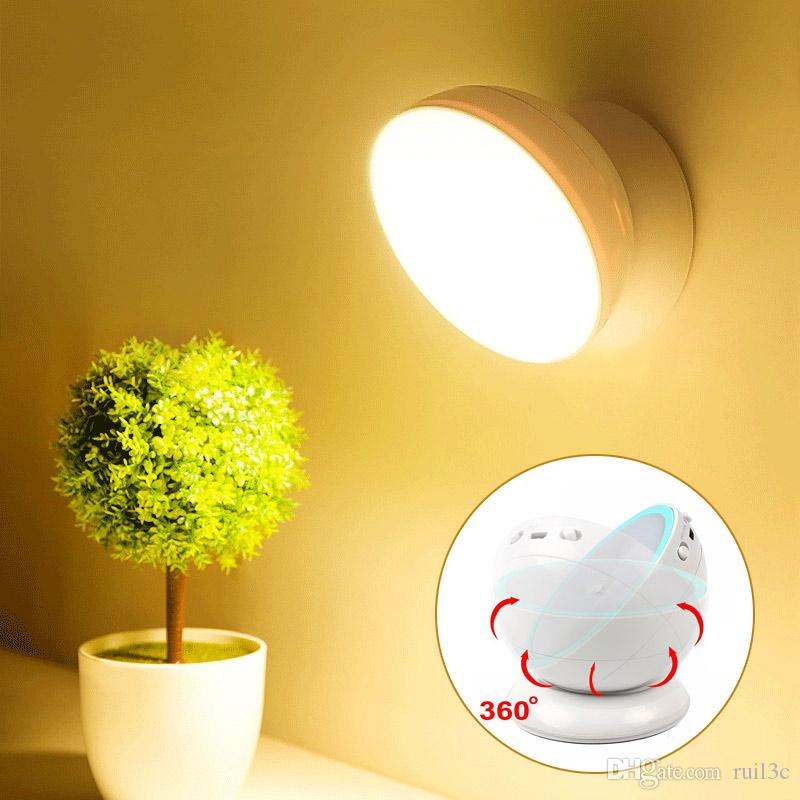 Smart Rechargeable USB LED Motion Sensor Night Light 360 Rotating Toilet WC Kitchen Bedroom Cabinet Wall Portable Reading Table Lamp