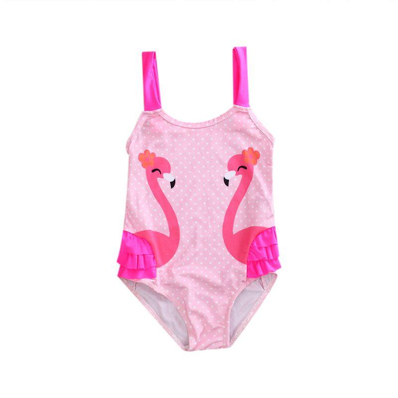 Toddler Kids Bikinis One Piece Bikinis Swan printed Swimsuits Baby Girls Swimwear Children Monokini Bathing Suit Beach Wear