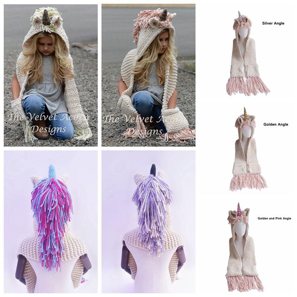 AMUSE 2 in 1 unicorn scarf cap Large size Kids Infant Llama Warm Knitted Hats Children cartoon warmer Winter crochet Hat LJJA1013