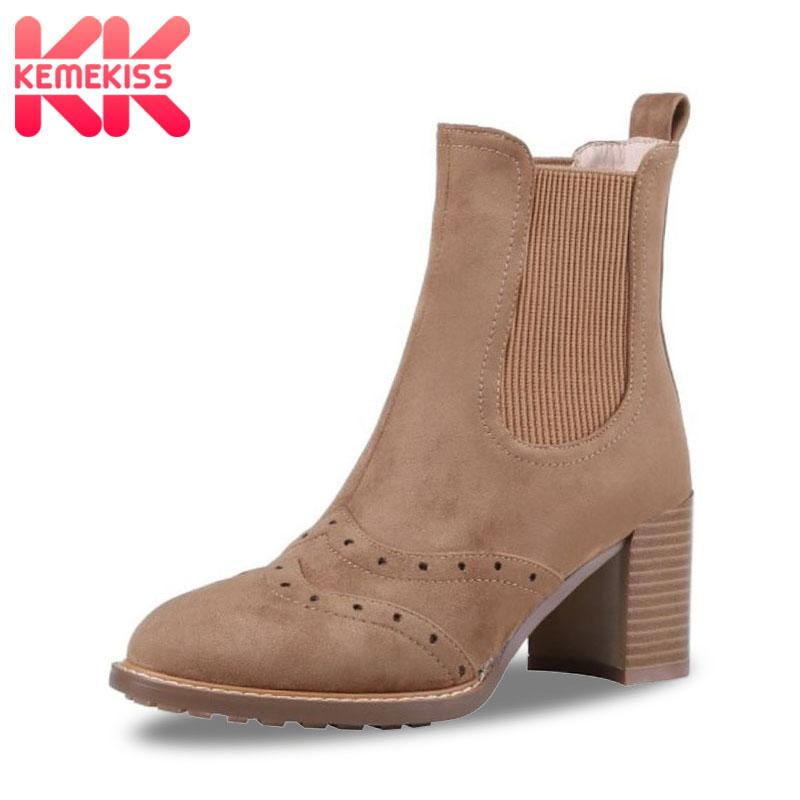 KemeKiss Winter Warm Real Leather Women Ankle Boots Square Heel Women Shoes Round Toe Solid Color Outdoor Footwear Size 34-40