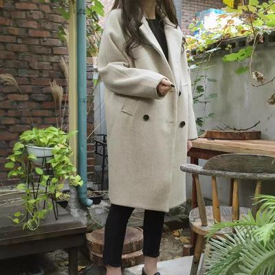 Cape woolen cloth coat female students long version of the Korean version of the large size heavy woollen coat winter