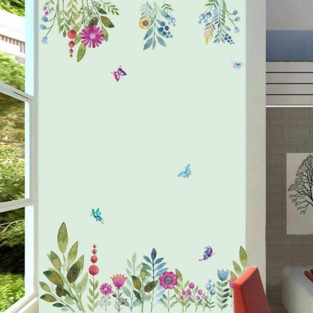 fd2d878c8 Colorful Spring Flower wall stickers TV Background Sofa decoration Flying  Birds Butterfly wall decal 3d Garden