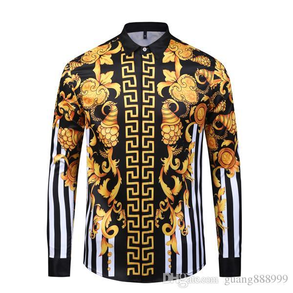 Модельер Мужские Рубашки 3D Медуза Черное Золото Цветочный Принт Мужская С Длинными Рукавами Бизнес Повседневная Slim Fit Рубашки