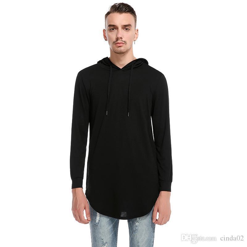 T-shirt pour hommes High Street Hiver Printemps Vente Chaude Sweats À Capuche Sweats à paragraphe Long T-shirt Homme