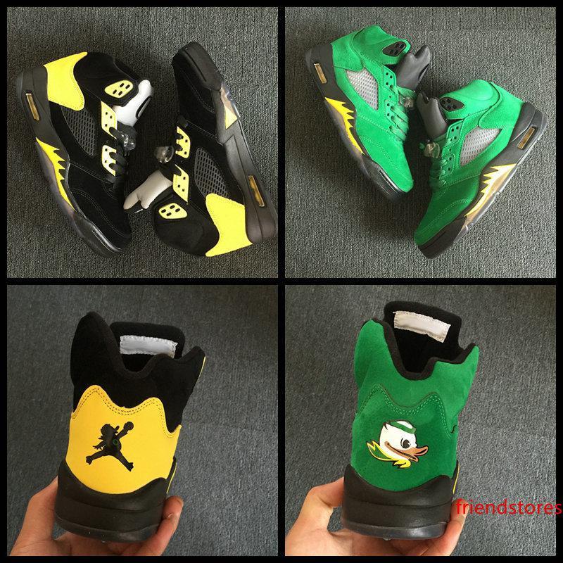 Высокое качество Новый 5 5s Oregon Ducks JumpDucks мужская баскетбольная обувь зеленый черный желтый спортивная обувь дышащий бренд кроссовки размер 8-13