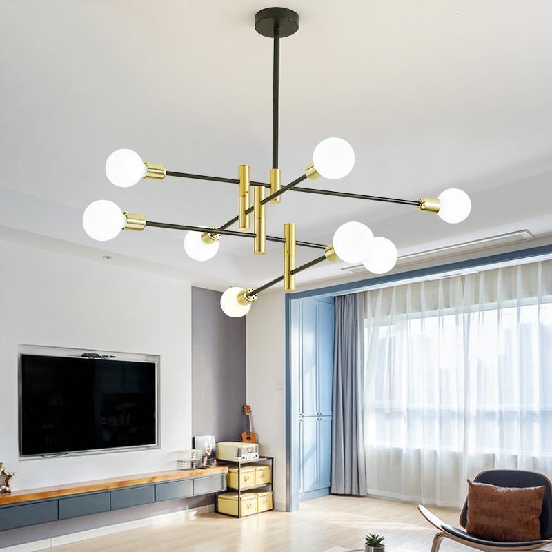 Neue moderne Nordic schwarze Leuchter-Beleuchtung LED 8 Lampe Kronleuchter Innen Licht Leuchte Nicht Bulbs Hauptbeleuchtung 2020 inklusive