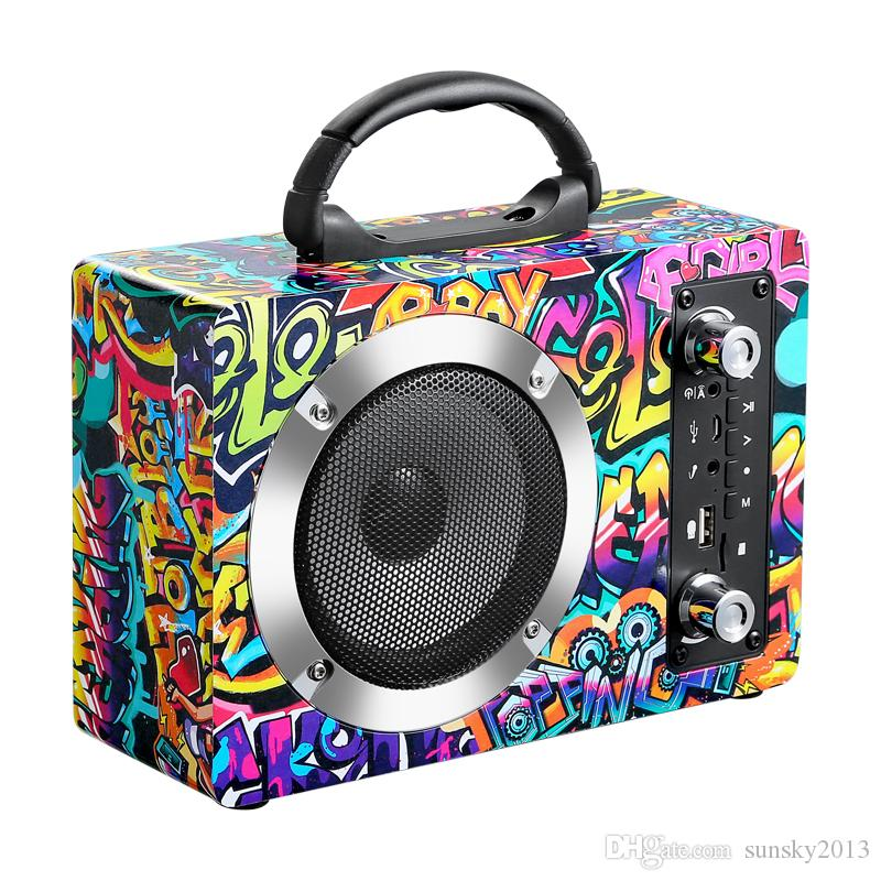 Wooden Bluetooth Speaker Stere Hifi Boombox Graffiti Real Wood Speakers with Handle Mic Supports TF Card FM Radio Outdoor Portable Soundbox