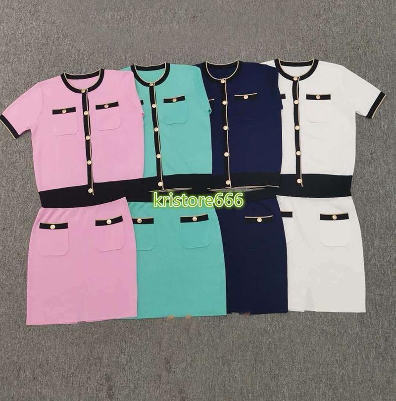 высокого класса женщины девушки вязать кардиган кнопки футболка в полоску с коротким рукавом Bodycon юбка дизайн мода роскошные стрейч двух частей набора платье