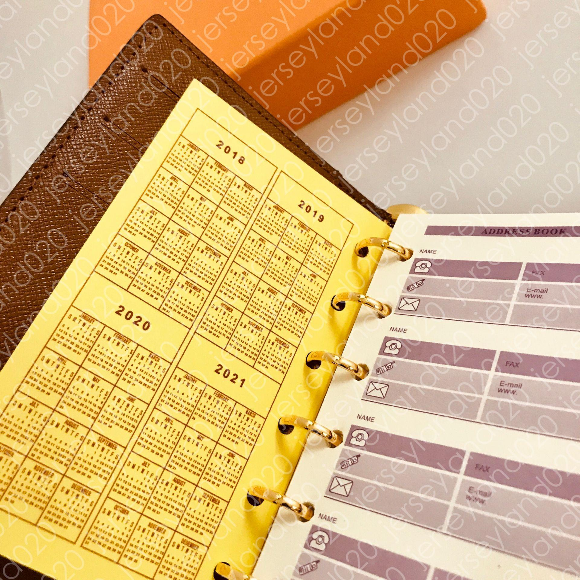 MEDIO ANELLO PICCOLO AGENDA COVER Designer Donna Moda Notebook Porta carte di credito Custodia Portafoglio di lusso Iconic Marrone Impermeabile Tela R20105