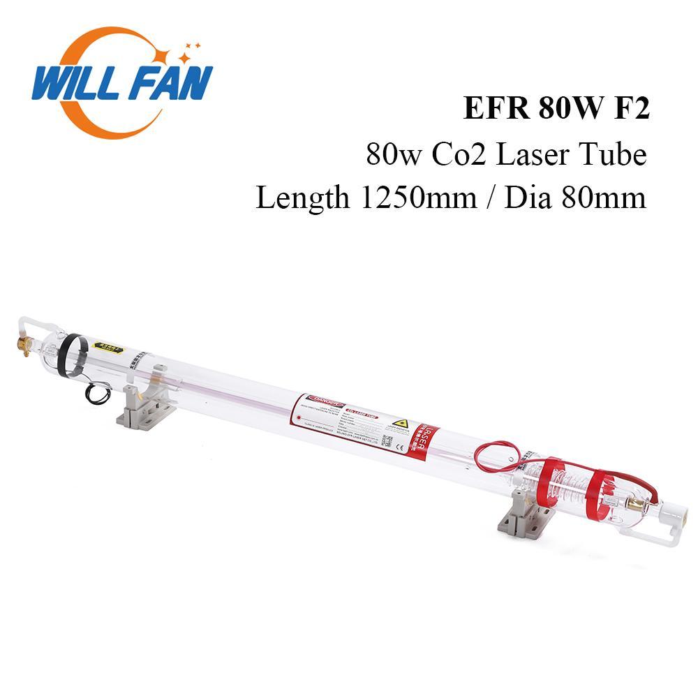 Will Fan 80W EFR F2 Co2 Laser Rohrlänge 1250mm Durchmesser 80mm Für CNC-Laser-Gravur-Schneidemaschine