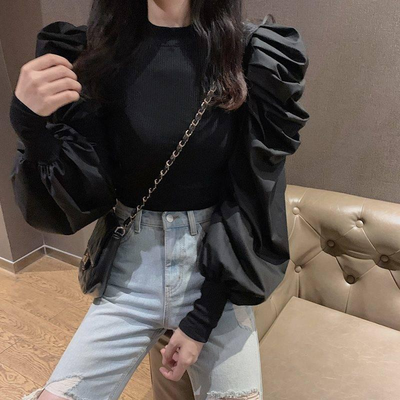 2020 Korean Fashion Black Pullovers Half Turtleneck Long Puff Sleeve Jumpers Solid Patchwork Slim Sweater Women Autumn New