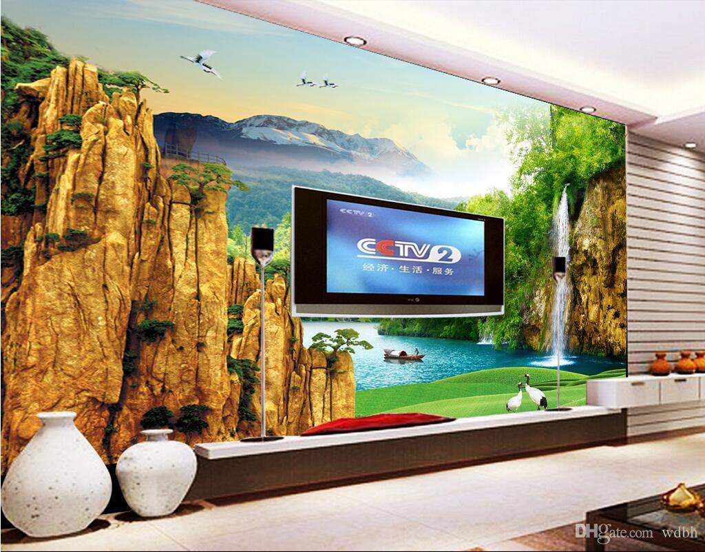 WDBH personalizado foto 3d papel de parede chinês montanha cachoeira lago cenário pintura sala de estar decoração de casa 3d papel de parede mural papel de parede para paredes 3 d