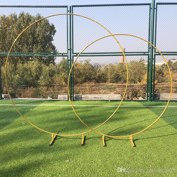 Personnaliser DIY De Mariage Décor forgé anneau de fer arc fond unique pôle arc porte en plein air pelouse fleur de soie porte plateau stand