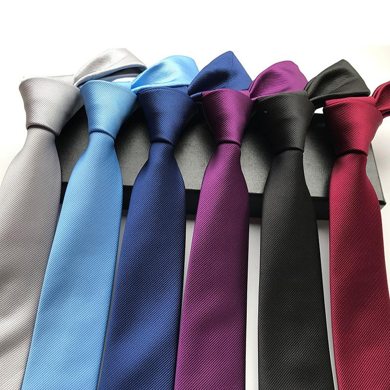 2020 New Silk 6cm Narrow Plain Tie Solid Fashion Suit Tie for Wedding Gifts