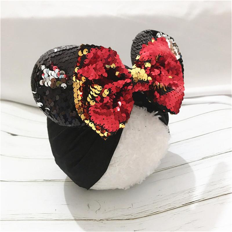 Spring / summer infant Beanie Turban Hat Baby Mouse Ears Hairband With Sequin Hair Bows Photography Props cap