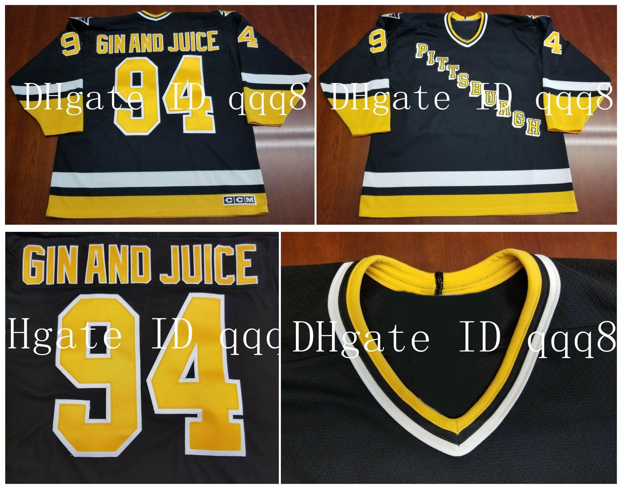 94 GIN AND JUICE Vintage Pittsburgh Penguins Jersey Personalisierung schwarz 1994 Retro Snoop Dogg 100% Nähen benutzerdefinierte Hockey Trikots