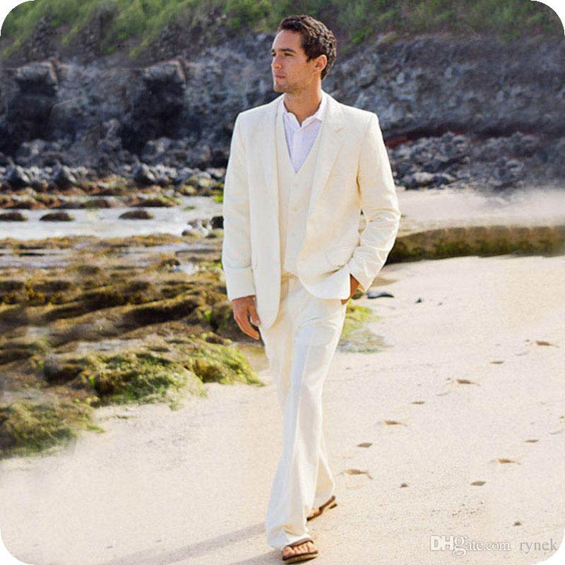 Summer Beach Ivory Linen Men Suits Latest Coat Pants Designs Groom Wedding Tuxedos Custom Made Best Man Blazer Jacket 3Piece Terno Masculino