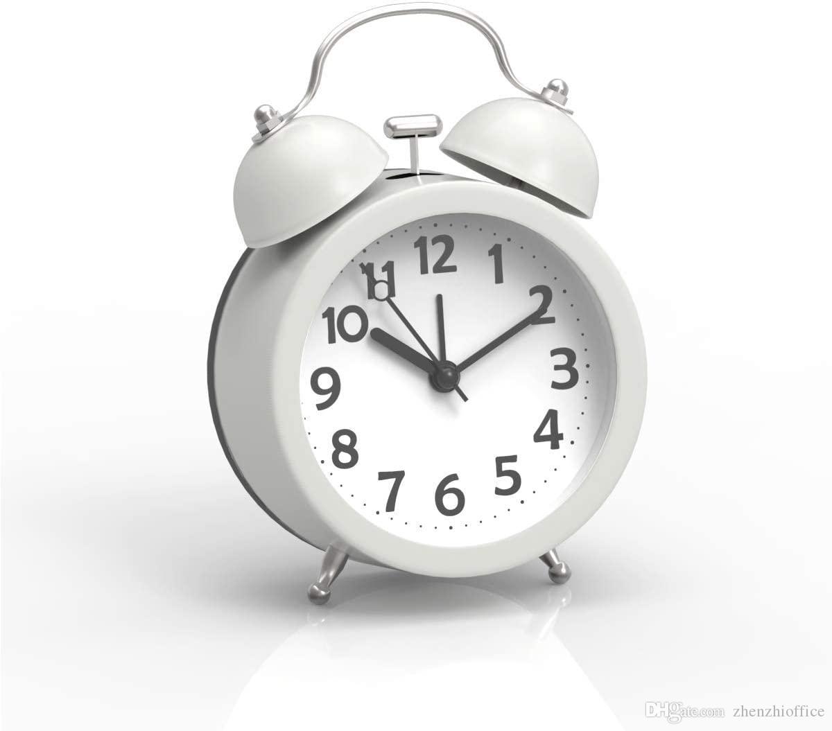 Mini non-tic-tac d'horloge d'alarme classique vintage analogique avec rétro-éclairage, batterie Operated Voyage Horloge, fort double de Bell réveil pour les enfants