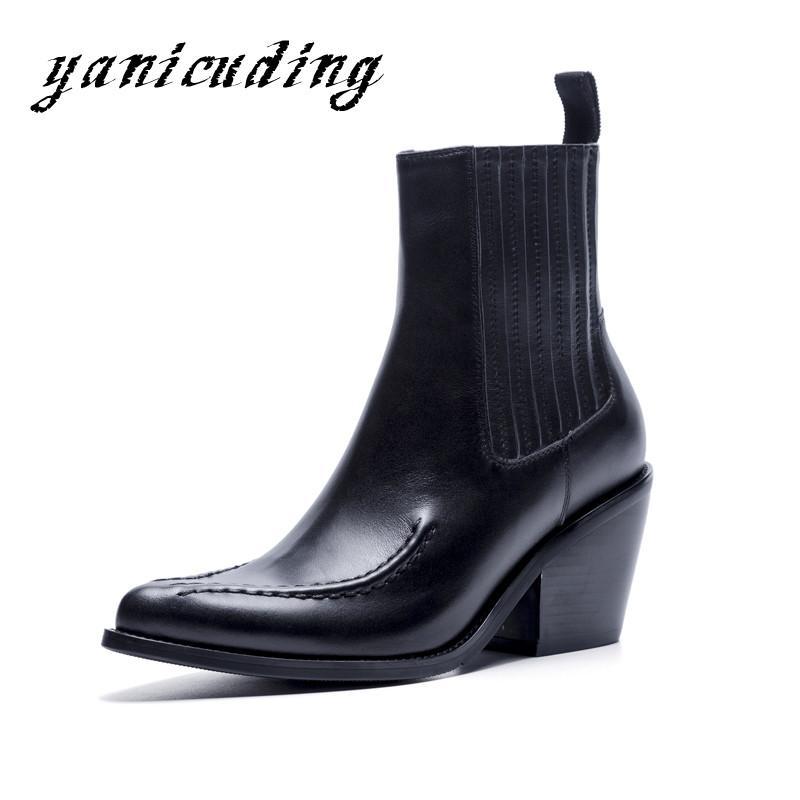Schwarze Leder-beiläufige Frau lädt Spitzschuh-Platz High Heel Ritter Ankle Boots-Beleg auf weiche Art und Weise Knöchel