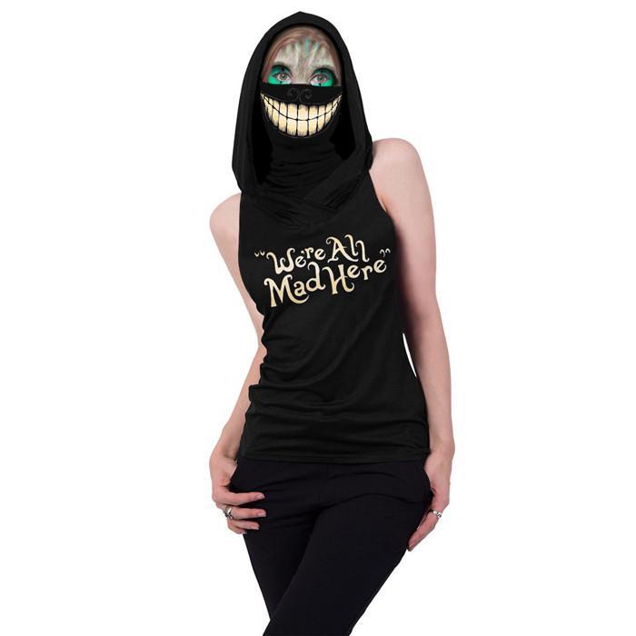 Kadınlar Cadılar Bayramı Cosplay Tişört 3D Kafatası Kapşonlu Kolsuz Harf Slim Fit Tees Dişi Tasarımcı Giyim